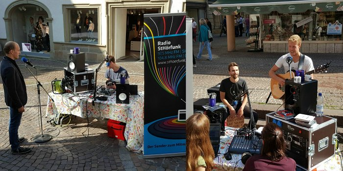 Radio-Station auf dem Grasmarkt